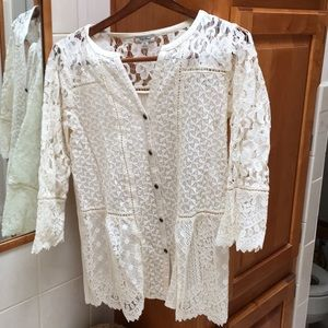 Ivory Lucky Brand Lace Blouse M